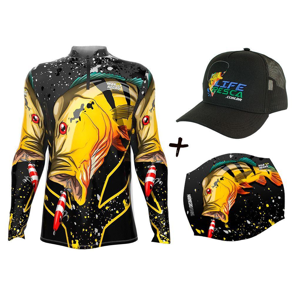 Camiseta de Pesca Masculino Proteção Solar 50+ UV Mar Negro Tucunaré Açu + Boné + Buff