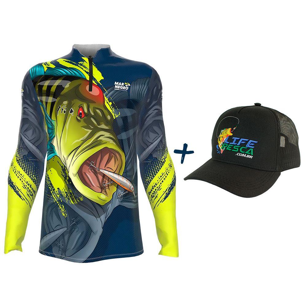 Camiseta de Pesca Masculino Proteção Solar 50+ UV Mar Negro Tucunaré Azul 1 + Boné Life Pesca Preto