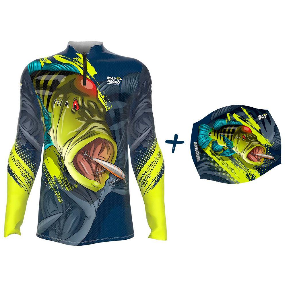 Camiseta de Pesca Masculino Proteção Solar 50+ UV Mar Negro Tucunaré Azul 1 + Buff Tucunaré Azul 1