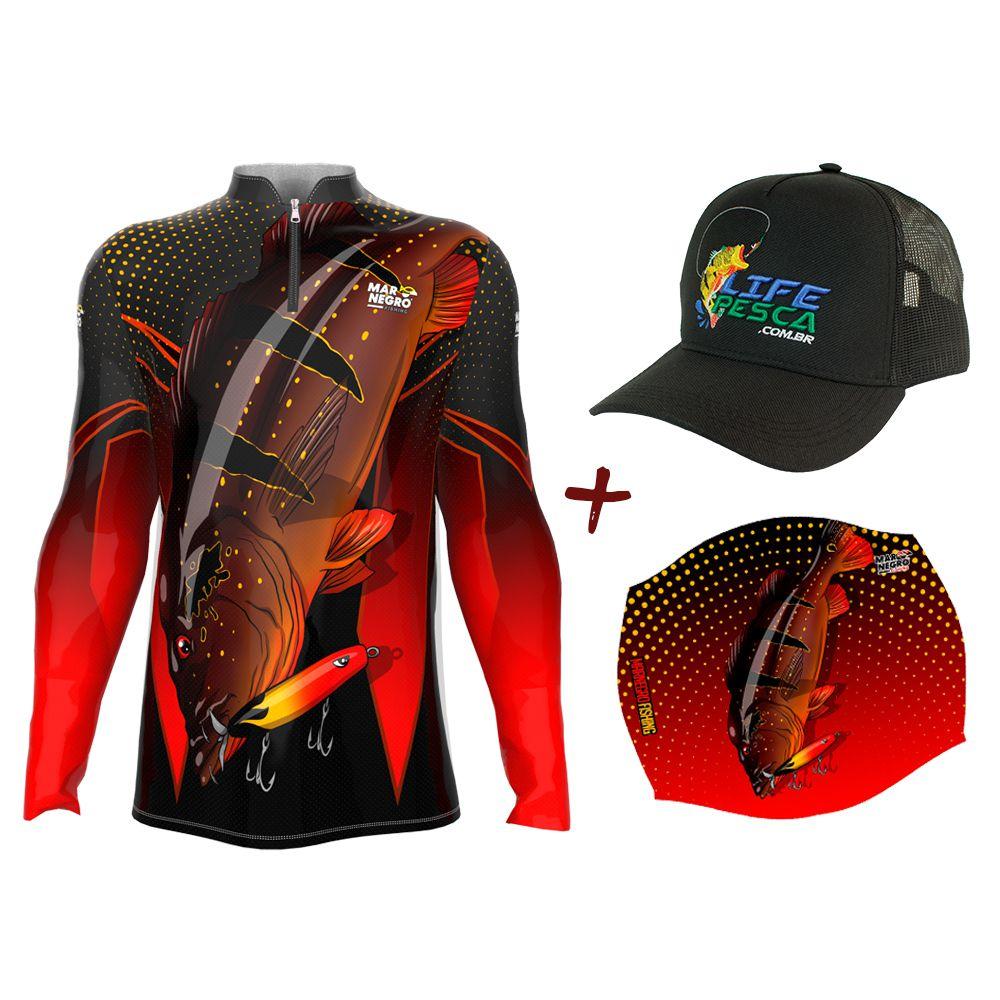 Camiseta de Pesca Masculino Proteção Solar 50+ UV Mar Negro Tucunaré Paca + Boné + Buff