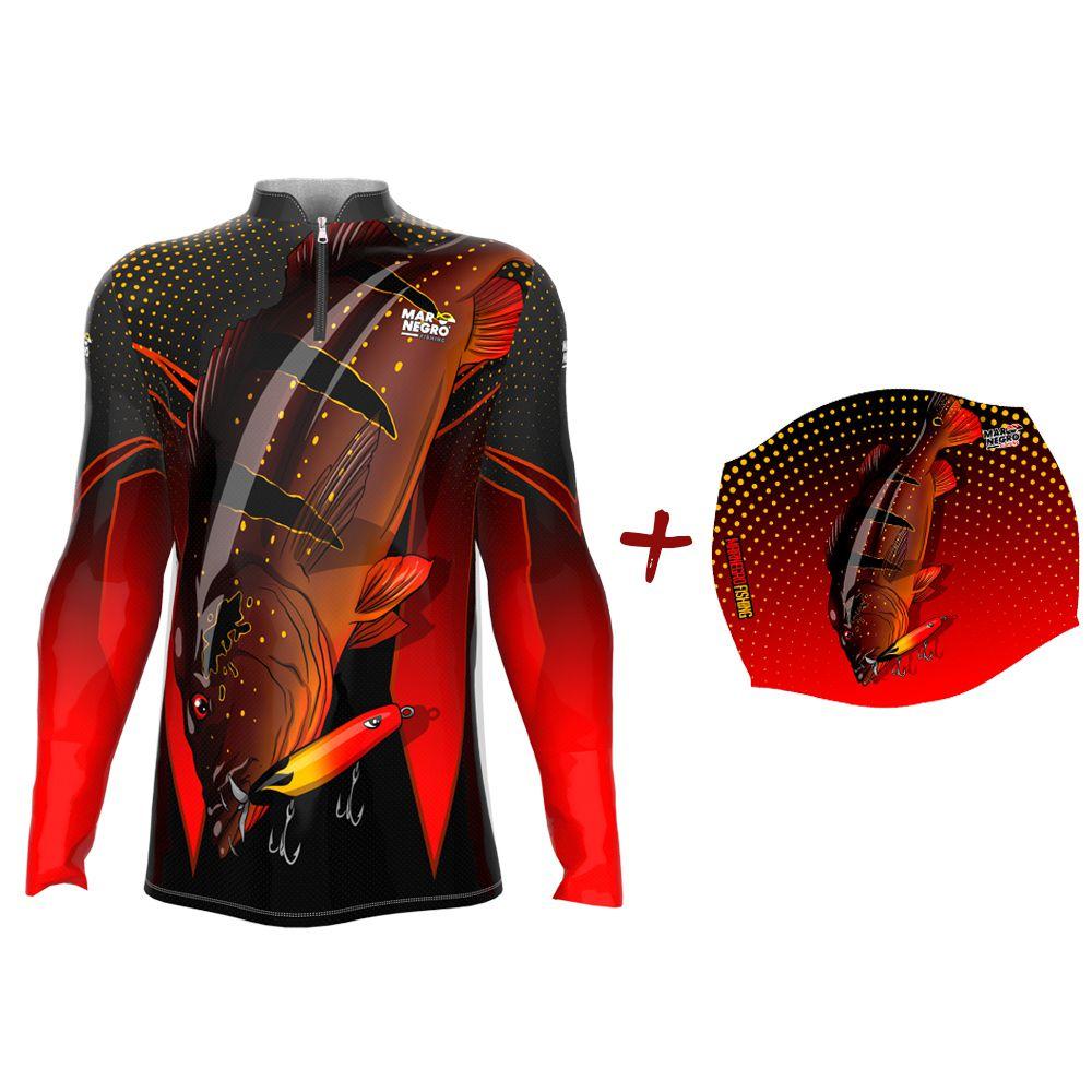 Camiseta de Pesca Masculino Proteção Solar 50+ UV Mar Negro Tucunaré Paca + Buff Tucunaré Paca