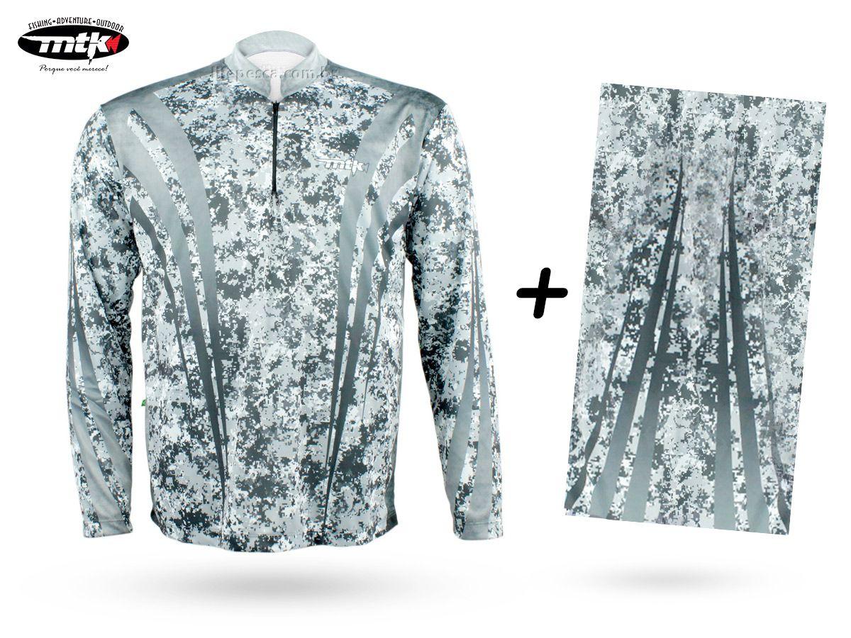 Camiseta De Pesca Mtk Atack Z Camuflada Cinza + Bandana Camuflada Cinza