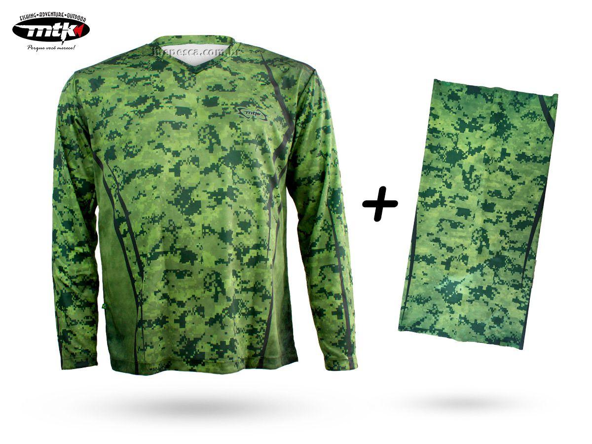 Camiseta De Pesca Mtk Atack V Camuflada Verde + Bandana Camuflada Verde