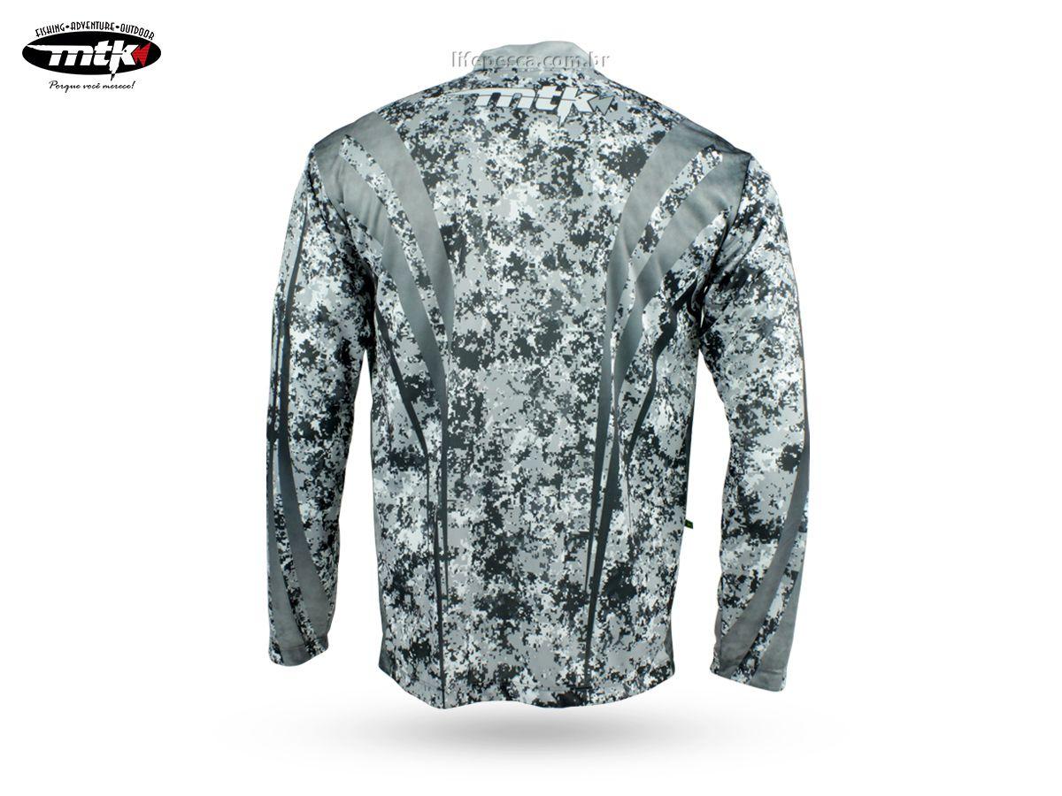 Camiseta De Pesca Mtk Atack Z - Protecao Solar Uv - Camuflada Cinza  - Life Pesca - Sua loja de Pesca, Camping e Lazer