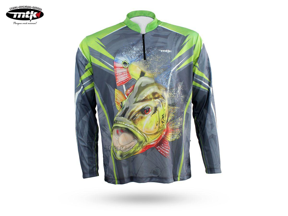 Camiseta De Pesca Mtk Atack Z - Protecao Solar Uv - Tucunaré Cinza