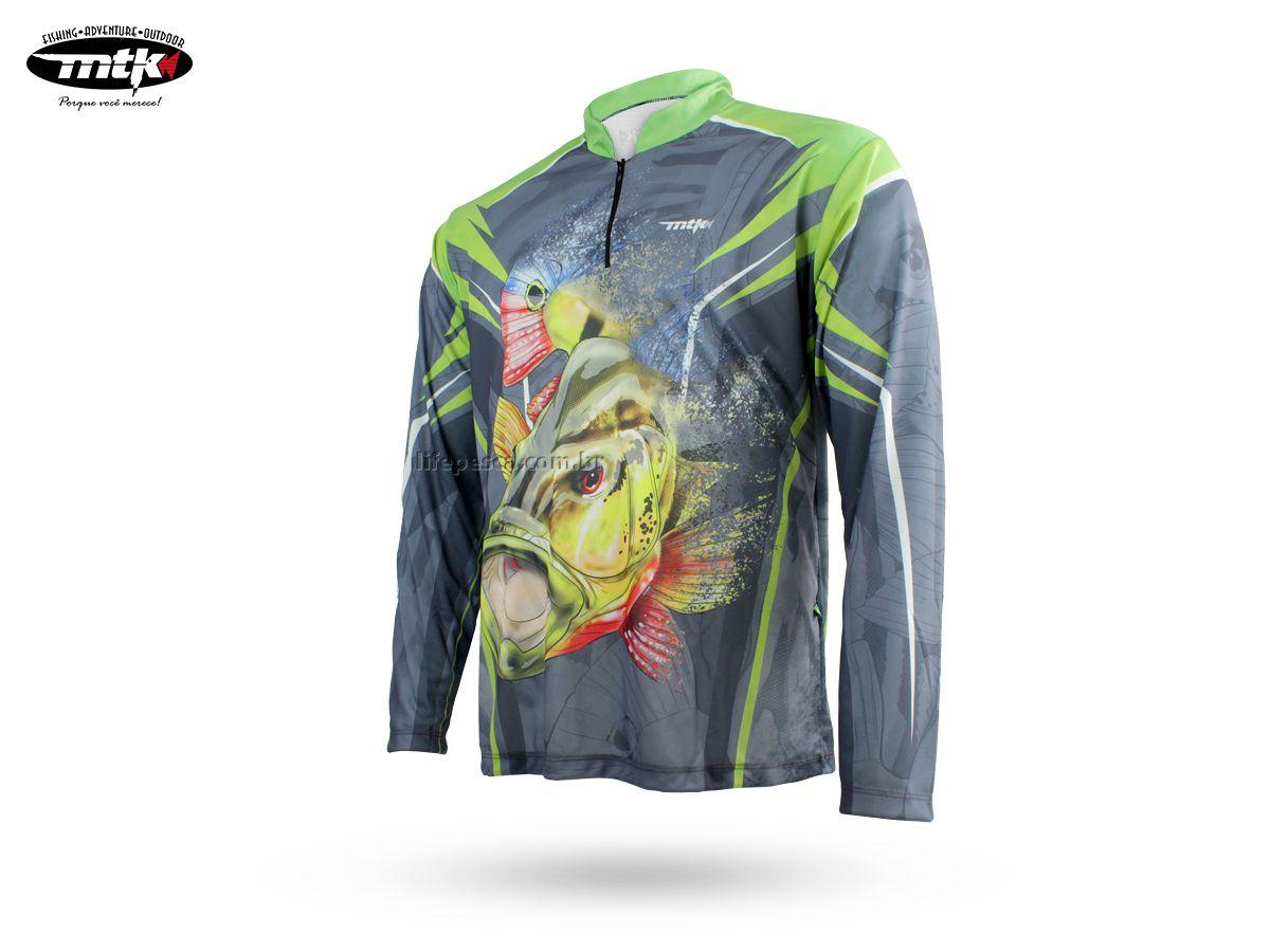 Camiseta De Pesca Mtk Atack Z - Protecao Solar Uv - Tucunaré Cinza  - Life Pesca - Sua loja de Pesca, Camping e Lazer