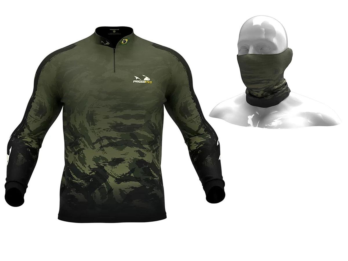 Camiseta De Pesca Presa Viva Proteção Solar Uv - Camuflado 05 + Bandana