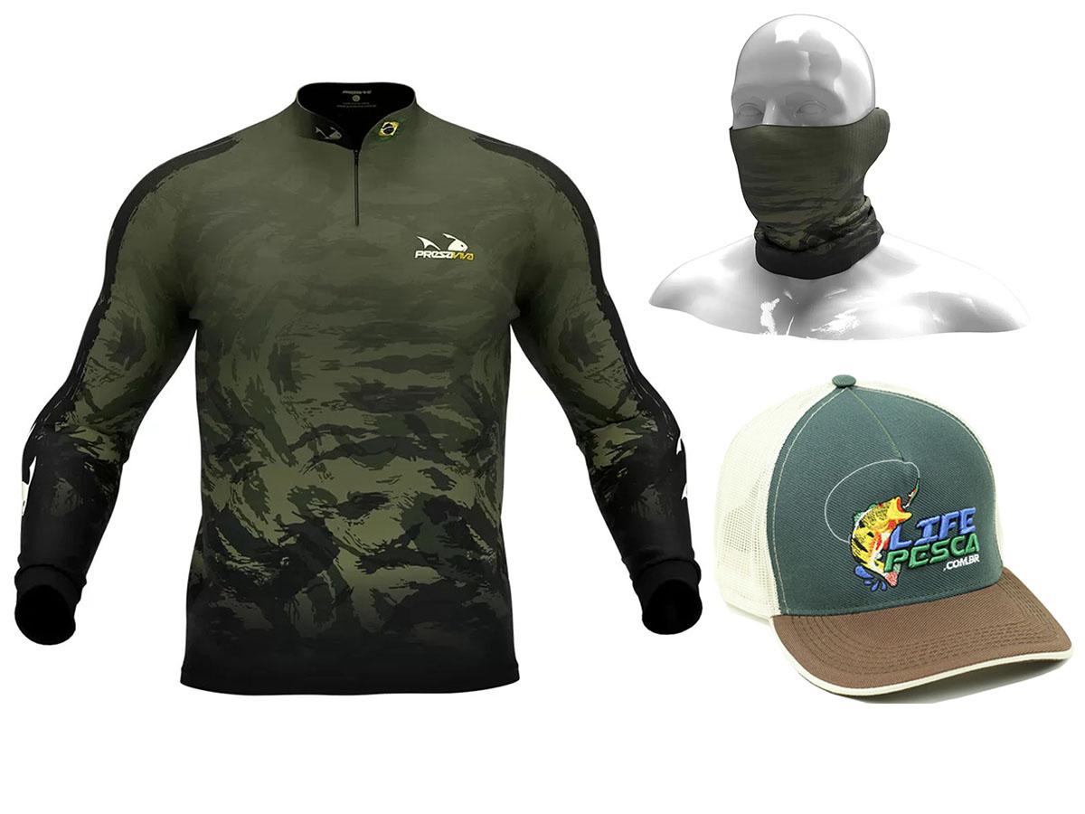 Camiseta De Pesca Presa Viva Proteção Solar Uv - Camuflado 05 + Bandana + Boné