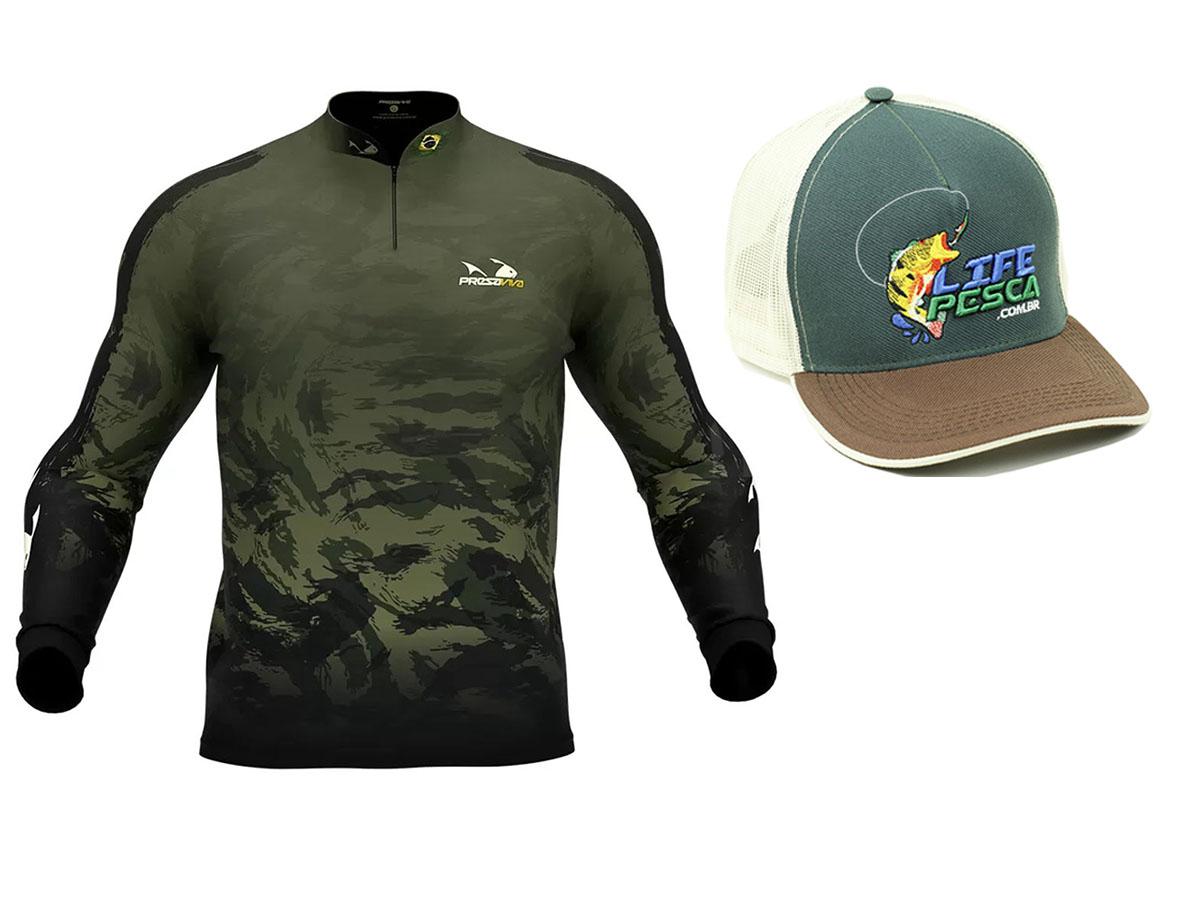 Camiseta De Pesca Presa Viva Proteção Solar Uv - Camuflado 05 + Boné