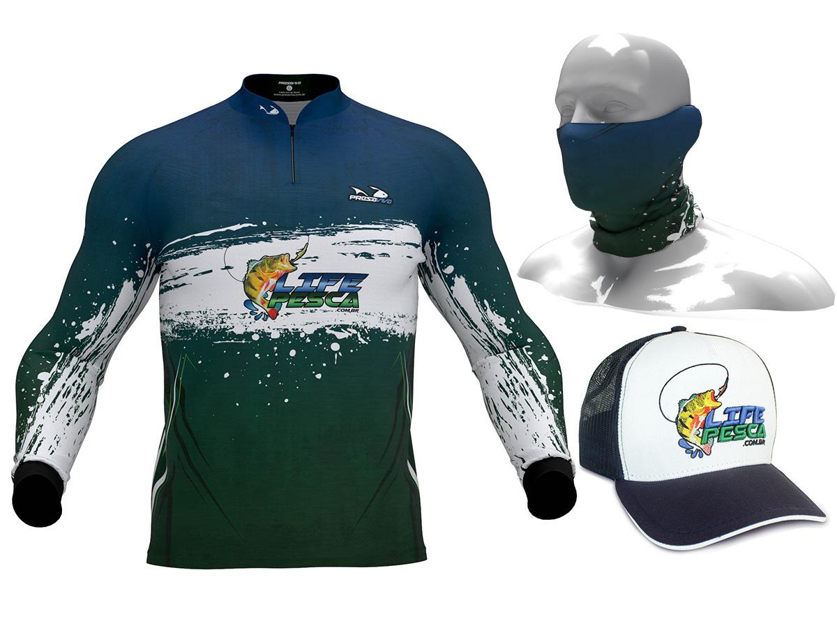 Camiseta De Pesca Presa Viva Proteção Solar Uv LIFE PESCA + Bandana + Boné Azul