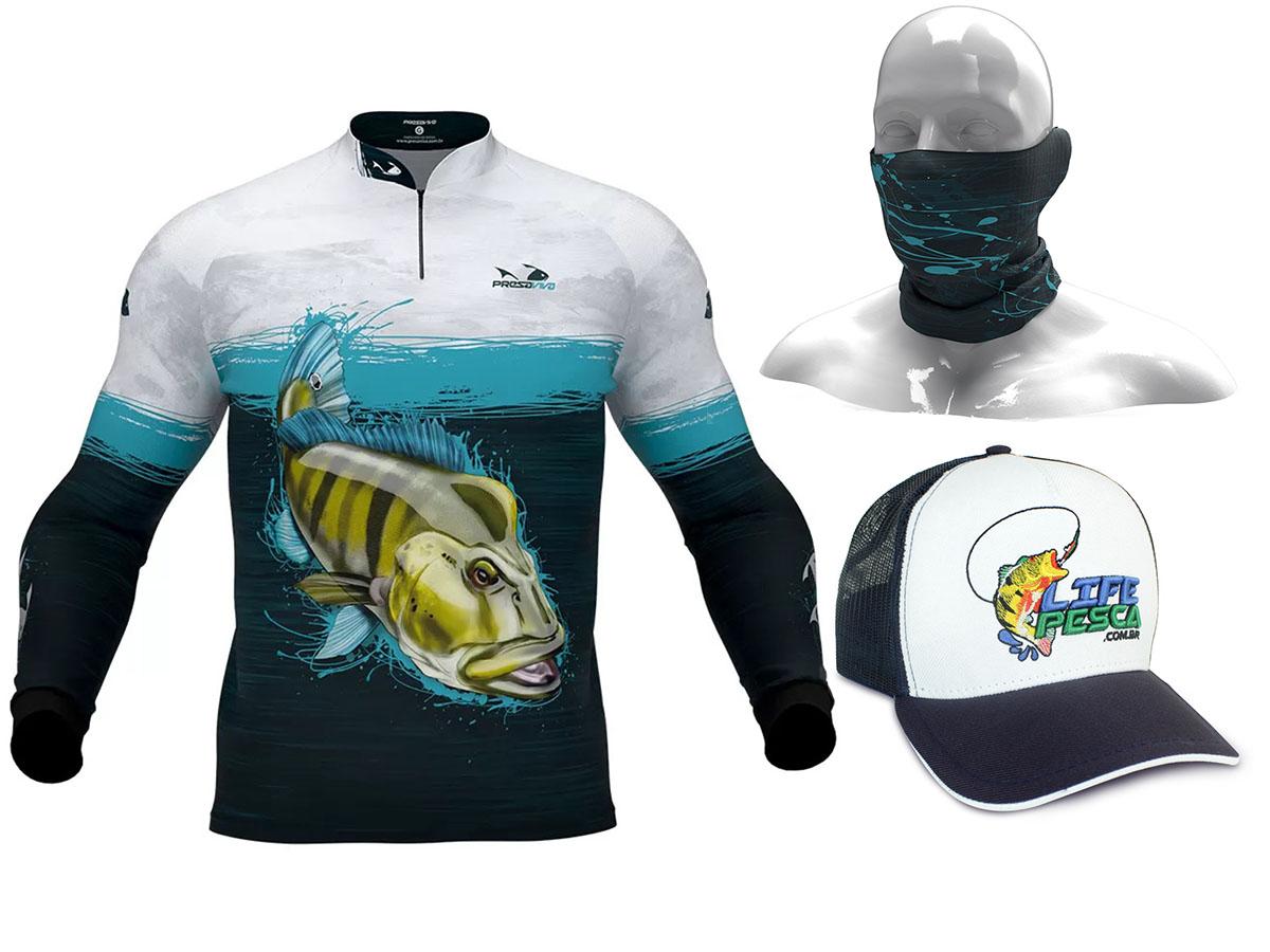 Camiseta De Pesca Presa Viva Proteção Solar Uv - Tucunaré Azul 03 + Bandana + Boné