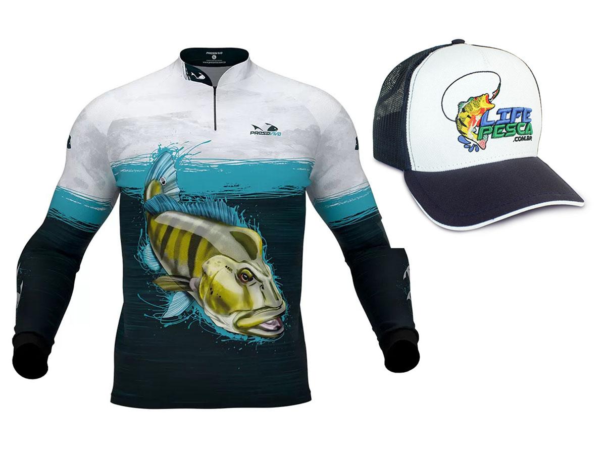 Camiseta De Pesca Presa Viva Proteção Solar Uv - Tucunaré Azul 03 + Boné
