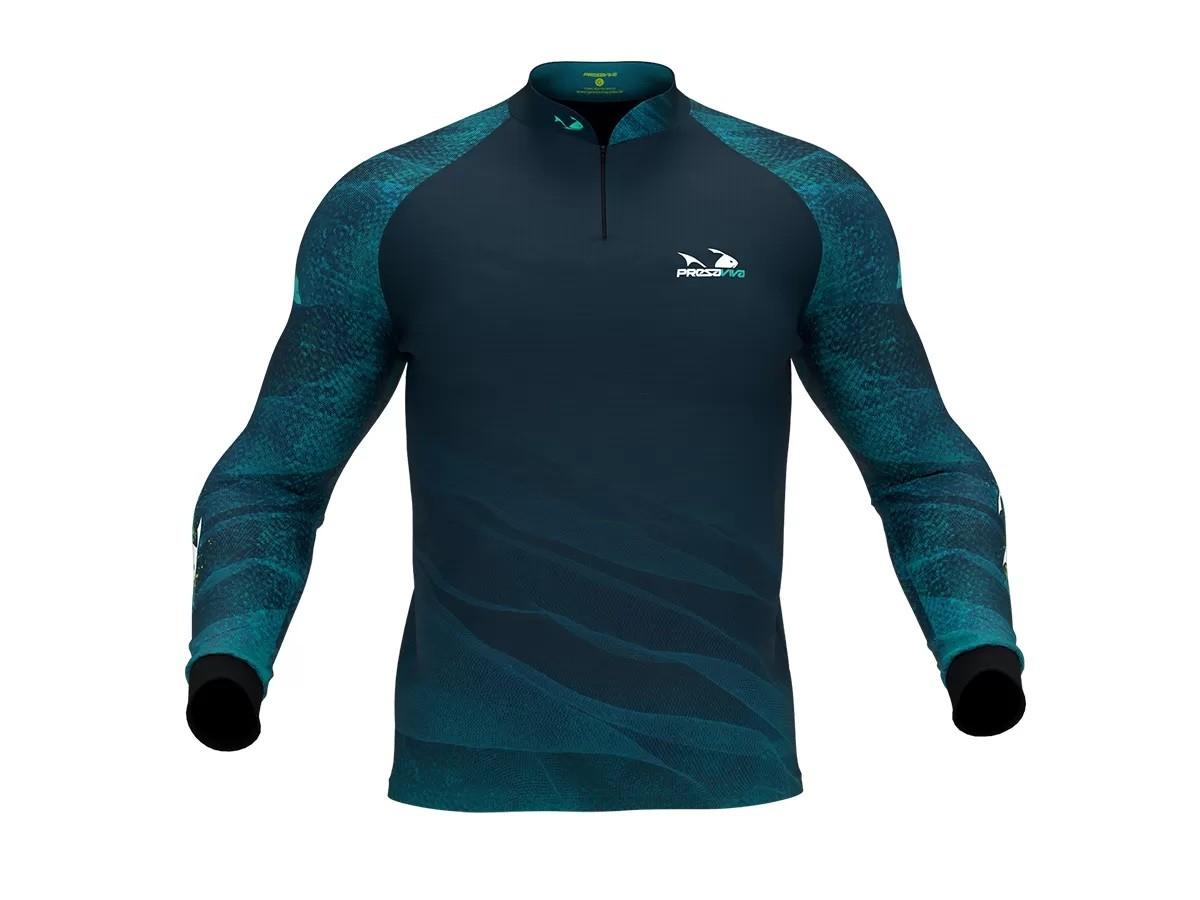 Camiseta De Pesca Presa Viva Proteção Solar Uv - Tucunaré Azul 04