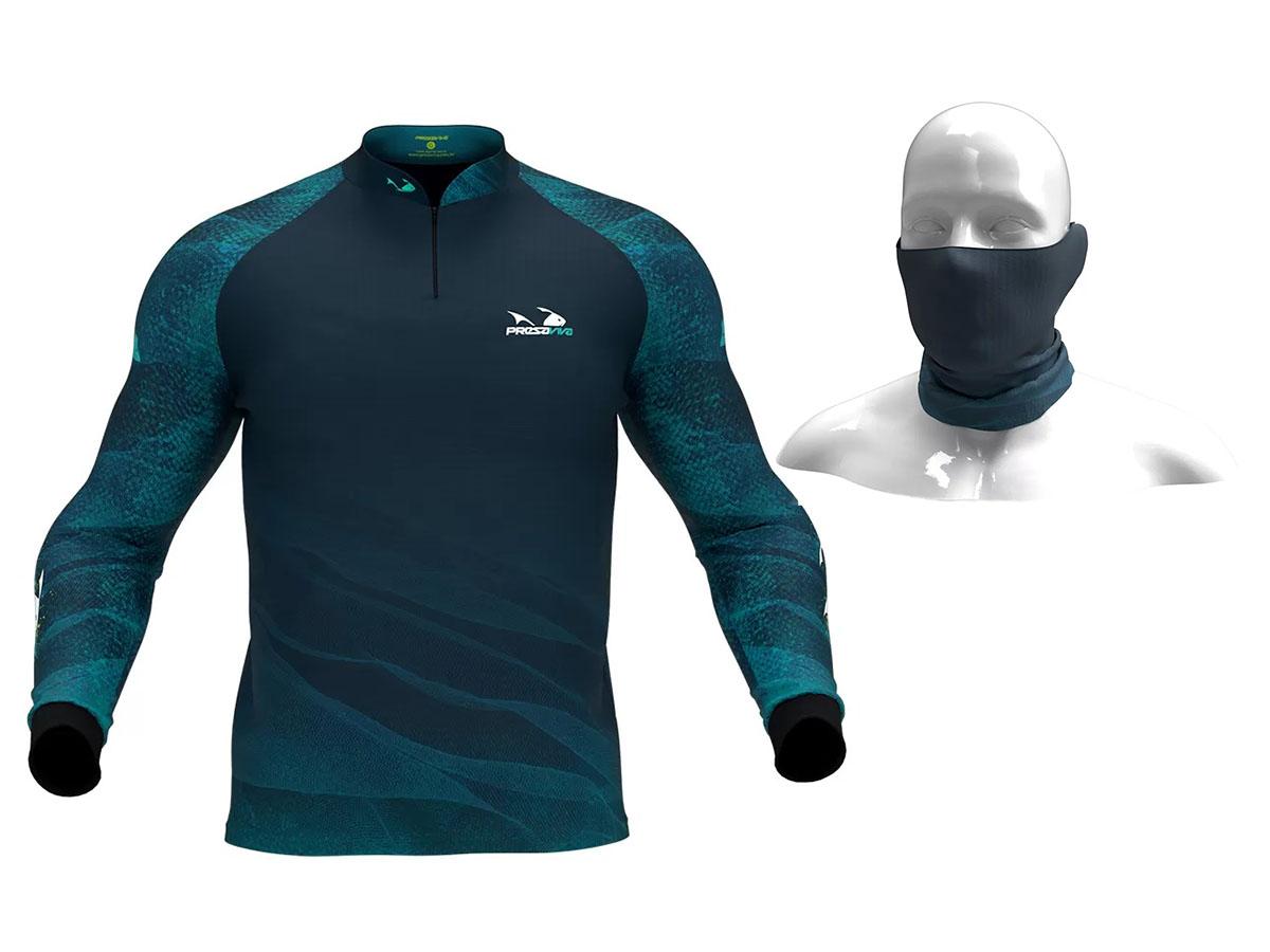 Camiseta De Pesca Presa Viva Proteção Solar Uv - Tucunaré Azul 04 + Bandana