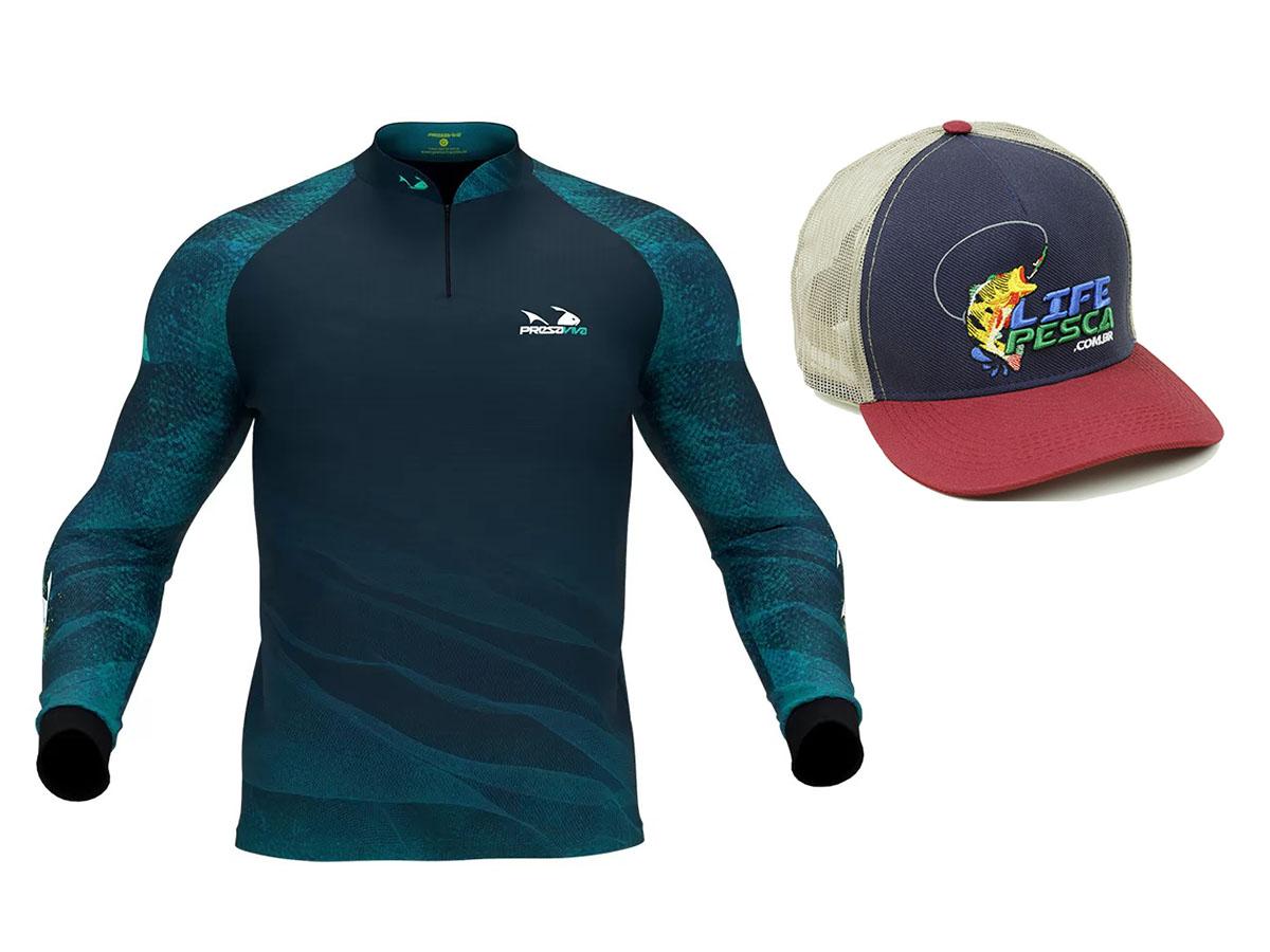 Camiseta De Pesca Presa Viva Proteção Solar Uv - Tucunaré Azul 04 + Boné