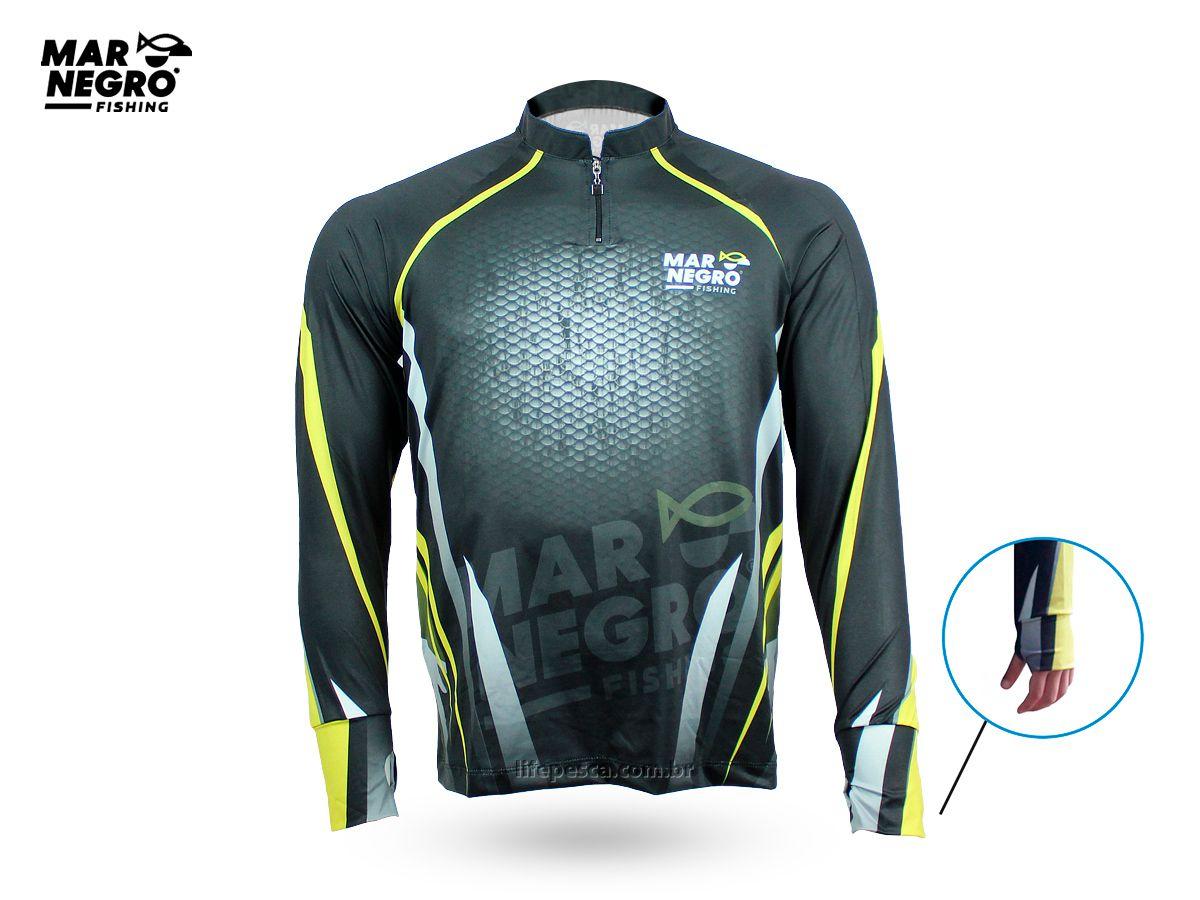 Camiseta de Pesca Proteção Solar 50+ UV Mar Negro - Clean 1