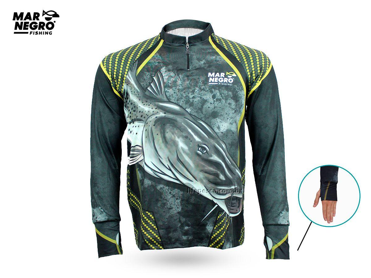 Camiseta de Pesca Proteção Solar 50+ UV Mar Negro - Pintado