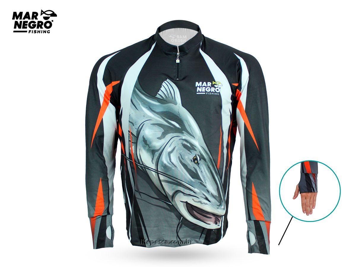 Camiseta de Pesca Proteção Solar 50+ UV Mar Negro - Piraíba