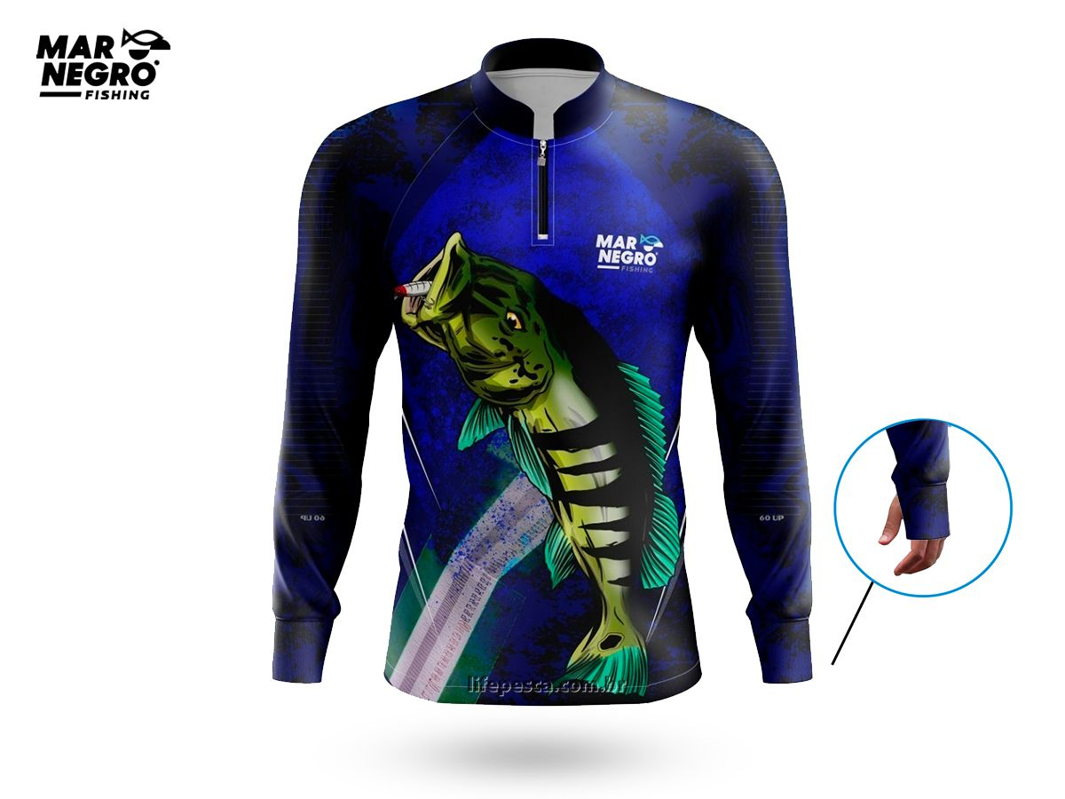 Camiseta de Pesca Proteção Solar 50+ UV Mar Negro - Tucunaré 60UP