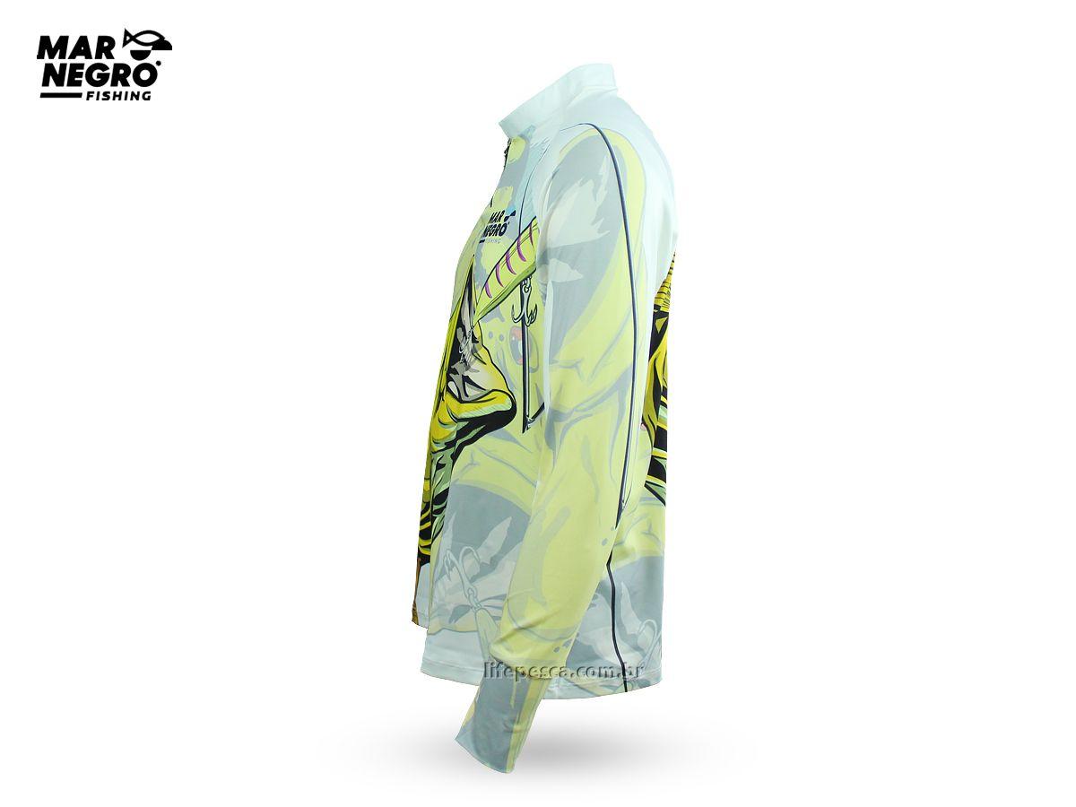 Camiseta de Pesca Proteção Solar 50+ UV Mar Negro - Tucunaré Amarelo  - Life Pesca - Sua loja de Pesca, Camping e Lazer