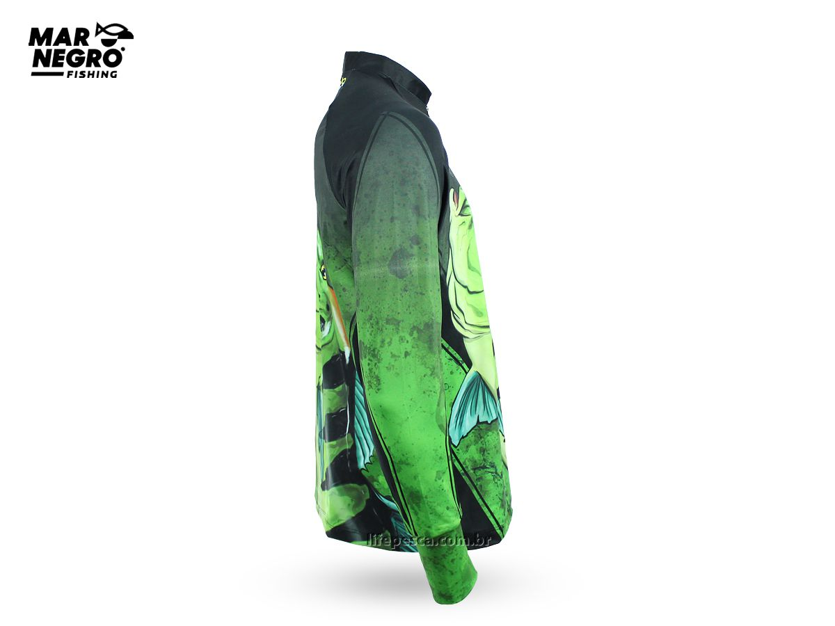 Camiseta de Pesca Proteção Solar 50+ UV Mar Negro - Tucunaré Azul  - Life Pesca - Sua loja de Pesca, Camping e Lazer