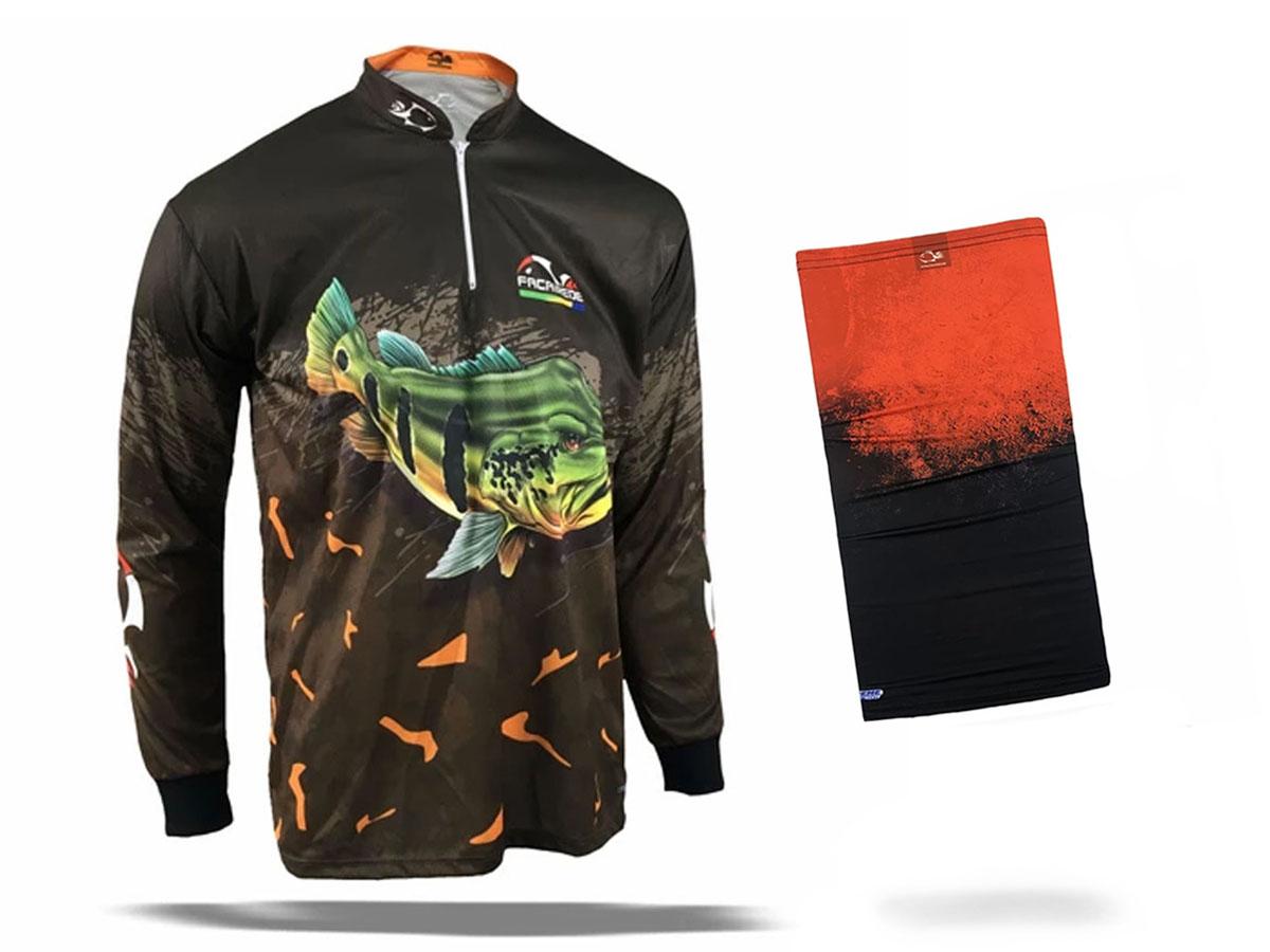 Camiseta de Pesca Faca na Rede Combat S Tucunaré Açu + Bandana