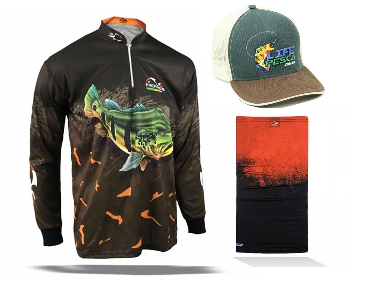 Camiseta de Pesca Faca na Rede Combat S Tucunaré Açu + Bandana + Boné