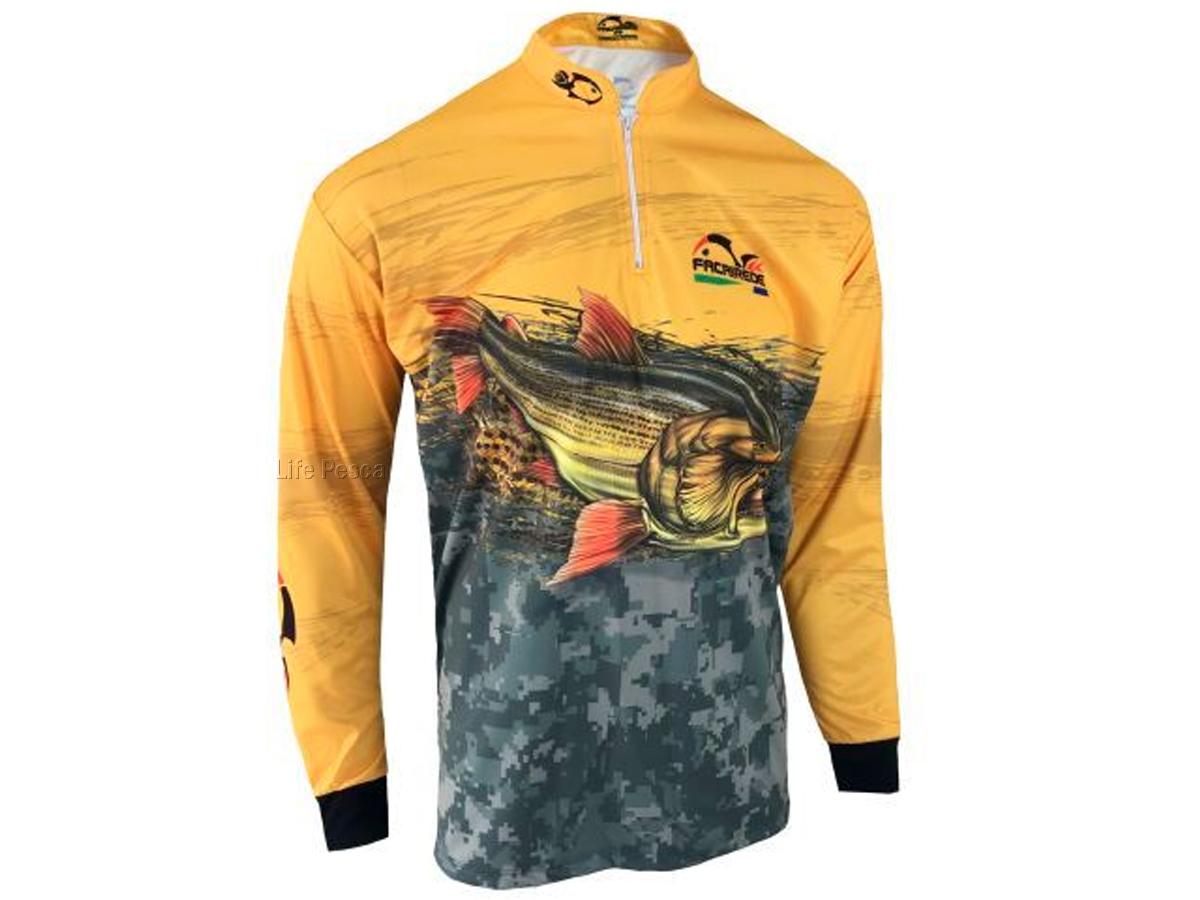 Camiseta de Pesca Proteção Solar Faca na Rede Combat S - Dourado 2021