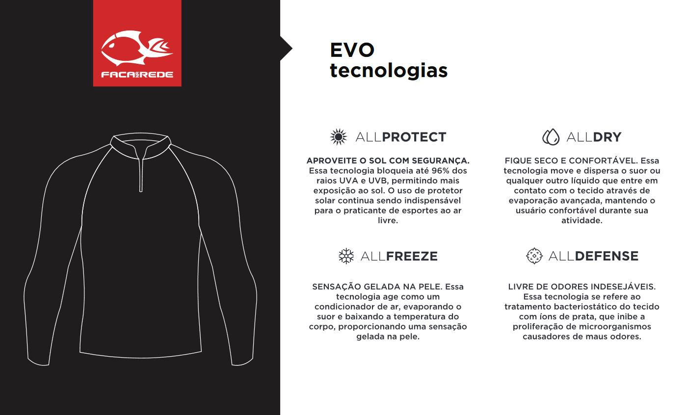 Camiseta Faca na Rede F-Move X Extreme Dry Evo + Black Neck BN27  - Life Pesca - Sua loja de Pesca, Camping e Lazer