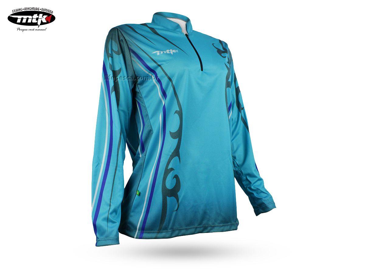 Camiseta Feminina De Pesca Mtk Atack Celeste - Protecao Solar Uv  - Life Pesca - Sua loja de Pesca, Camping e Lazer