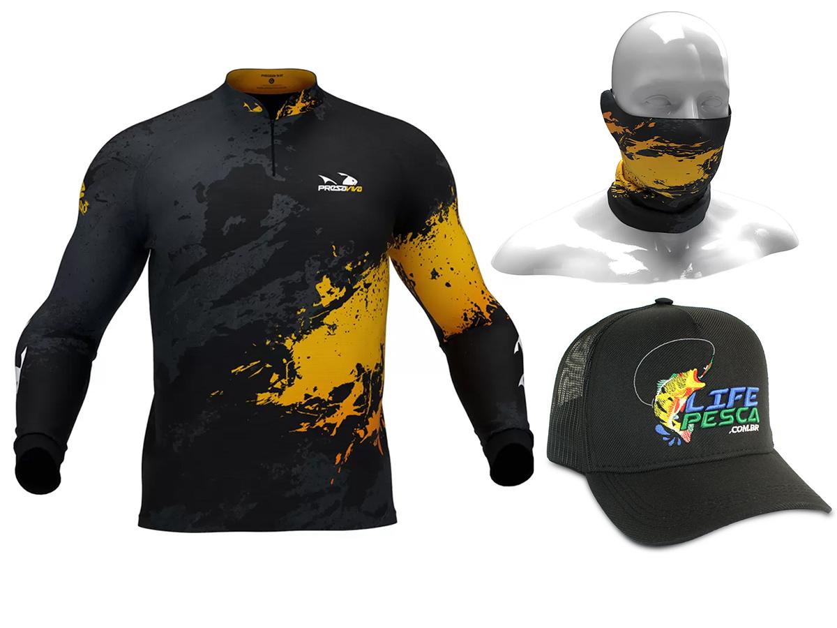 Camiseta Presa Viva Proteção Solar Uv - Dourado 06 + Bandana + Boné