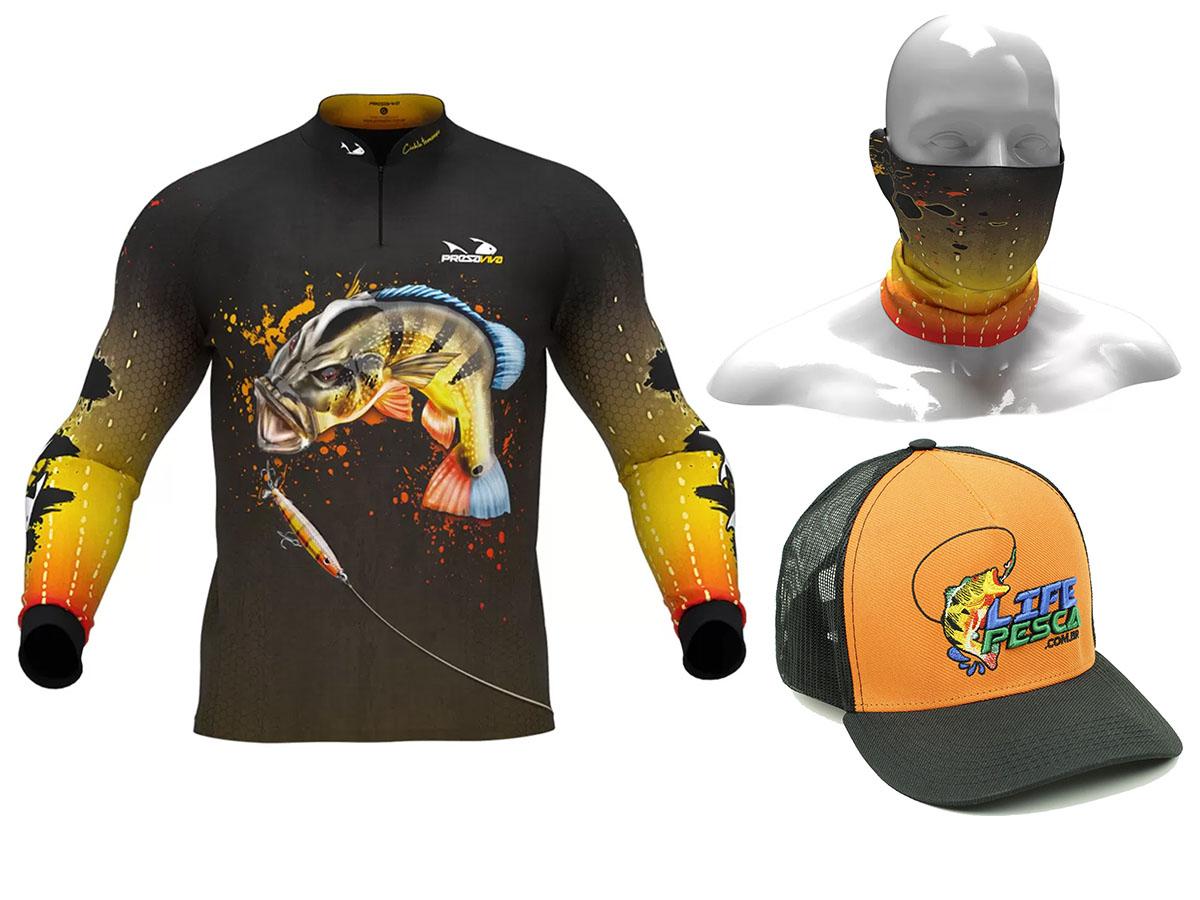 Camiseta Presa Viva Proteção Solar Uv - Paca + Bandana + Bóne
