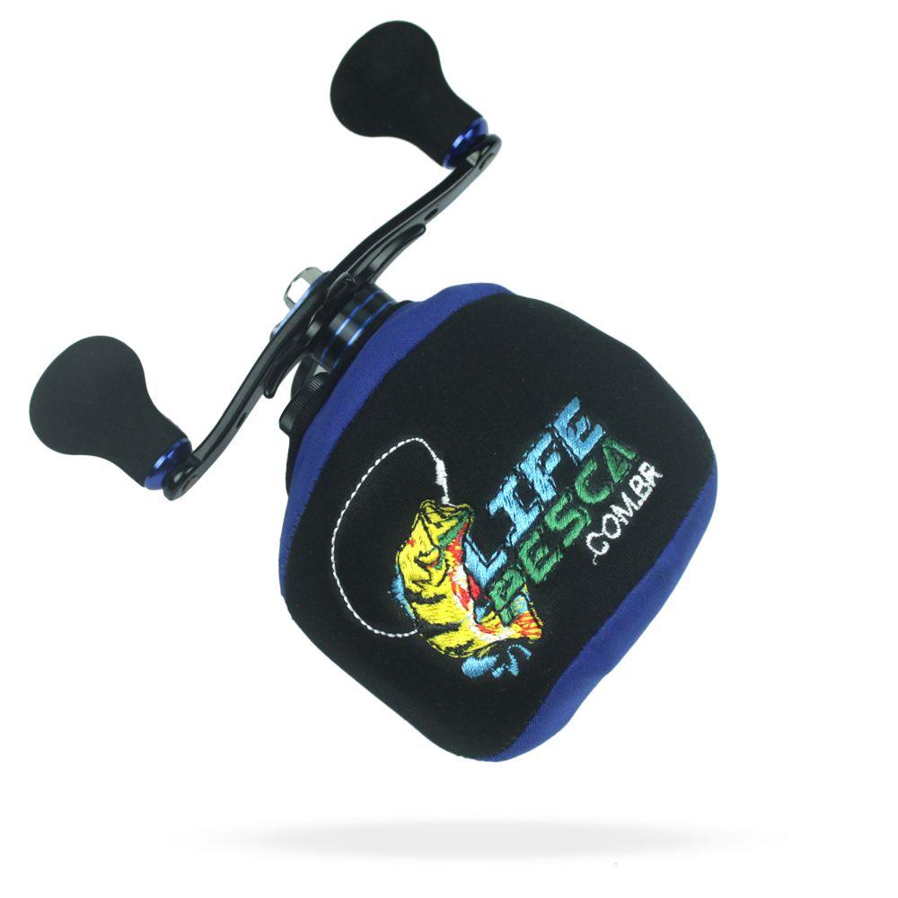 Capa Protetora P/ Carretilha Perfil Baixo em Neoprene Azul - Life Pesca