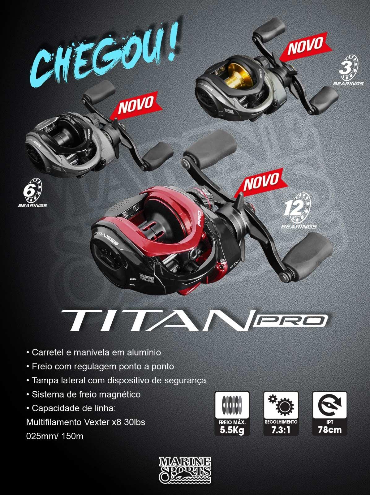 Carretilha Perfil Baixo Marine Sports Titan Pro 6000 - 6 Rolamentos  - Life Pesca - Sua loja de Pesca, Camping e Lazer
