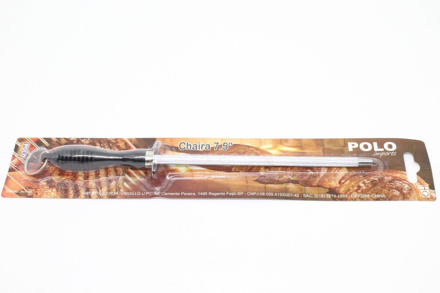 """Chaira Para Afiar Facas 7,5"""" ( 19,0cm ) - Polo  - Life Pesca - Sua loja de Pesca, Camping e Lazer"""