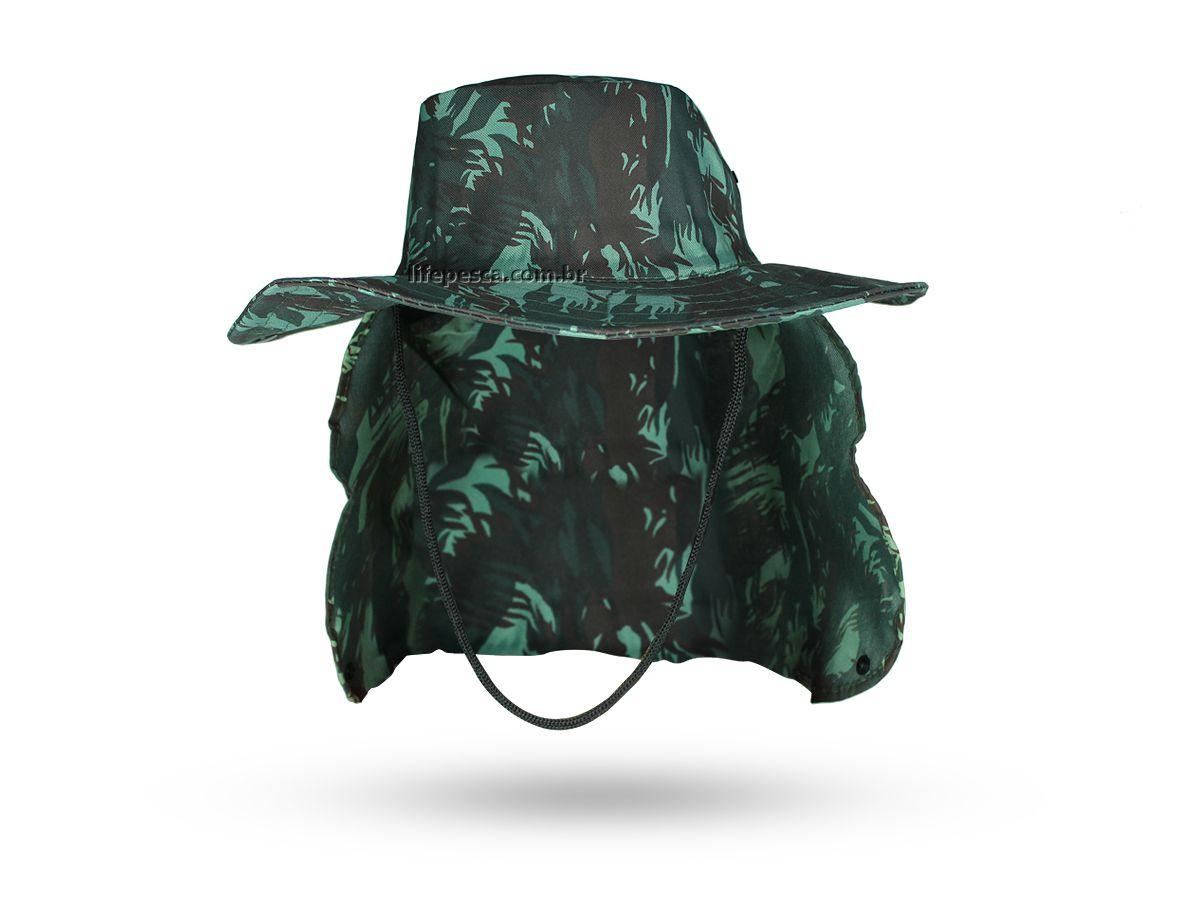 Chapéu C/ Protetor De Nuca Pescador Atividades ao Ar Livre - Camuflado