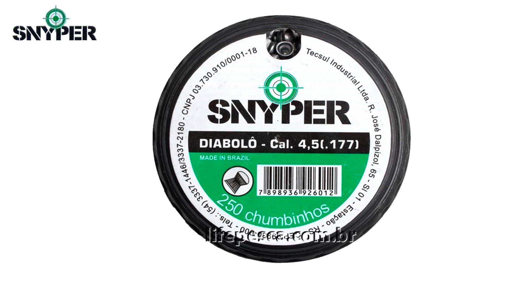 Chumbinho Diabolo Snyper 4,5mm - C/ 250 Peças  - Life Pesca - Sua loja de Pesca, Camping e Lazer