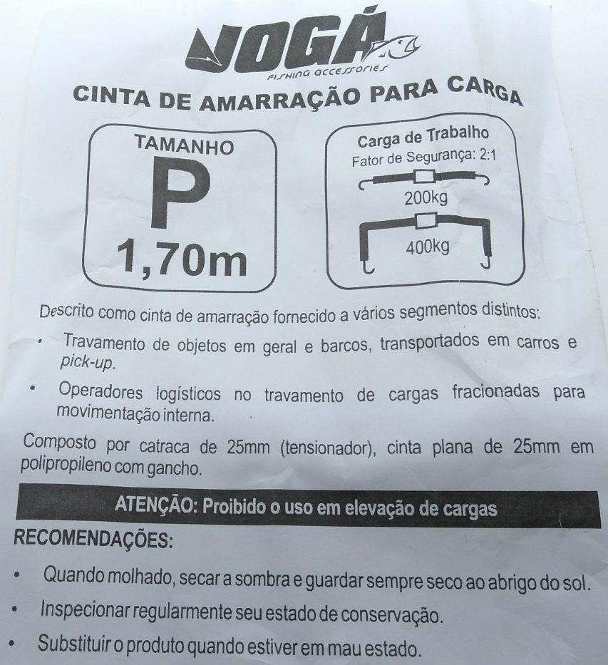 Cinta de Amarração Para Carga Jogá - Tamanho P 1,70 Metros  - Life Pesca - Sua loja de Pesca, Camping e Lazer
