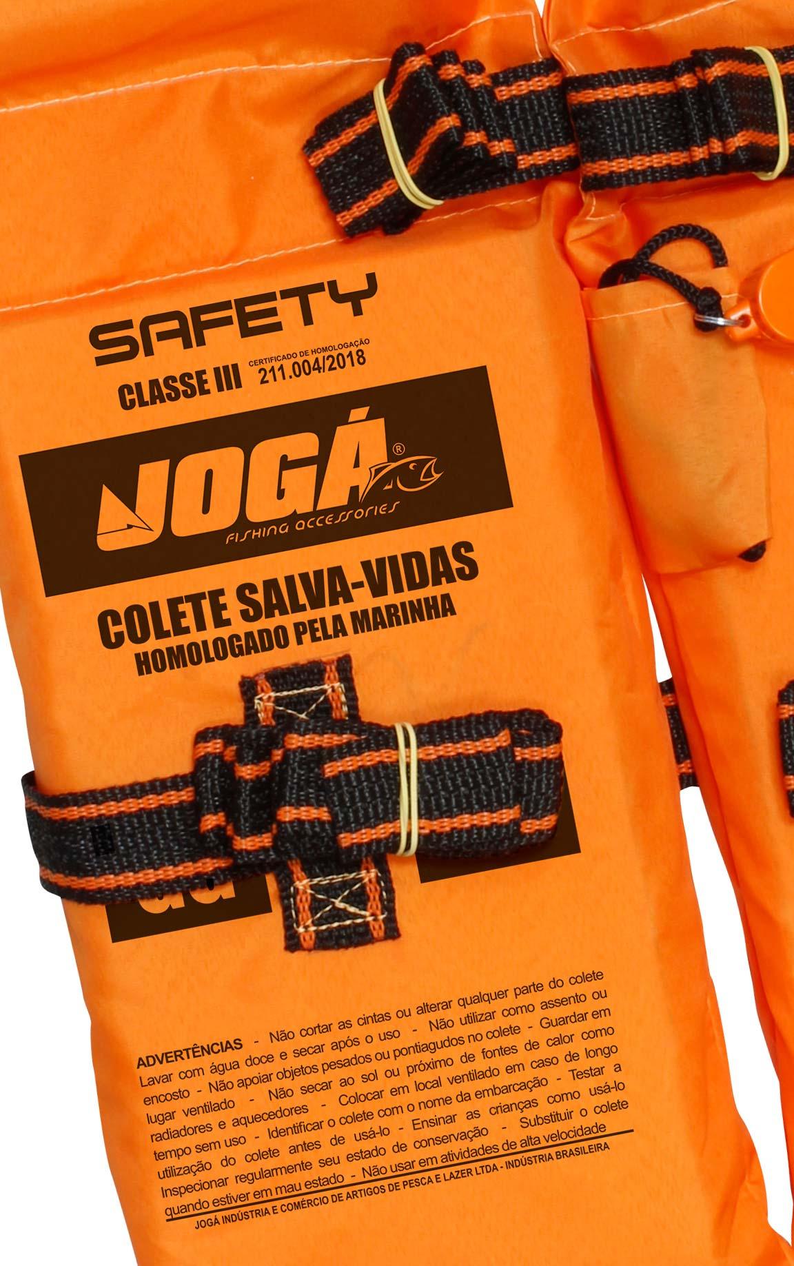 Colete Salva Vidas Jogá Classe 3 Safety Laranja - M  - Life Pesca - Sua loja de Pesca, Camping e Lazer