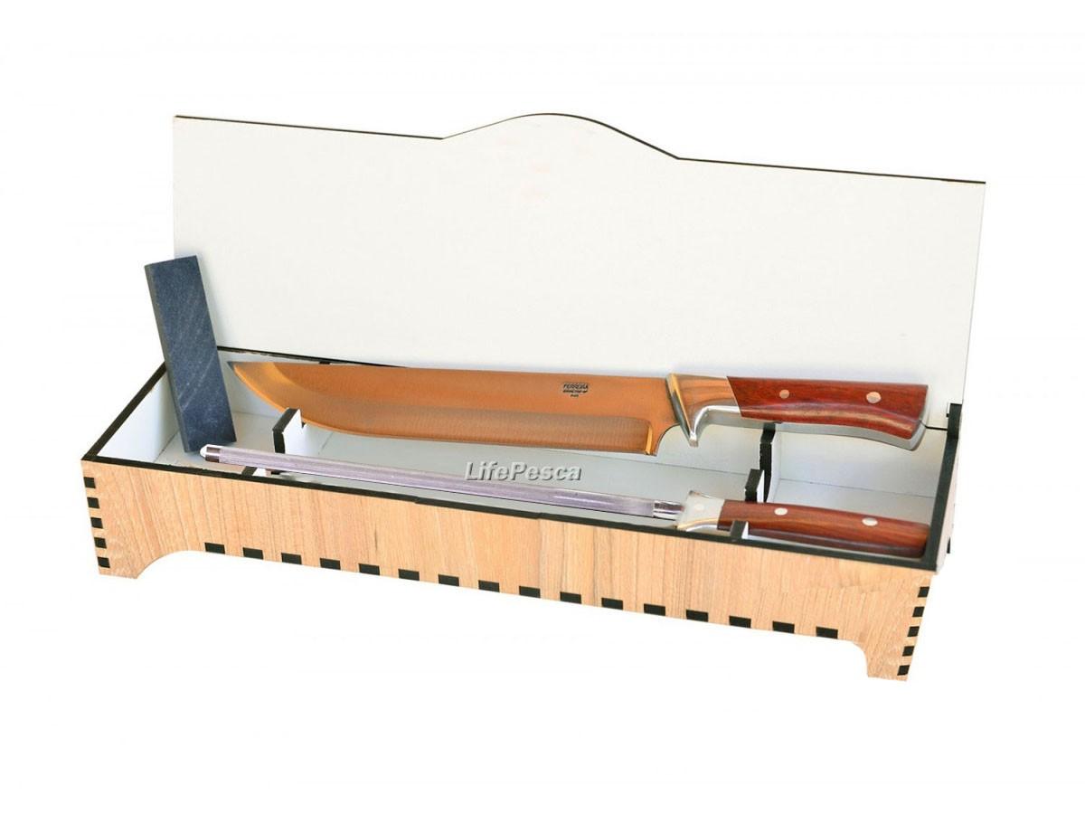 Conjunto Dueto Ferreira 1012 c/ Caixa em MDF + Faca Aço Inox 420 9