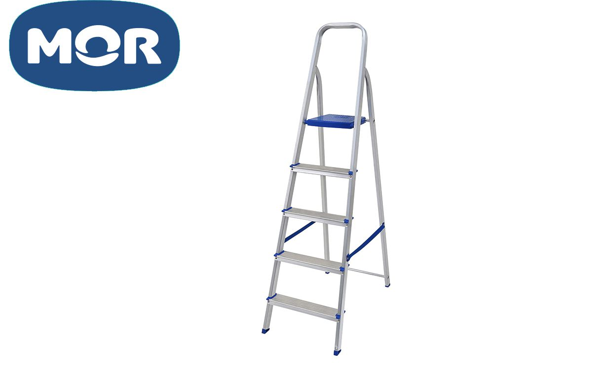 Escada Alumínio 5 Degraus Uso Doméstico - Mor