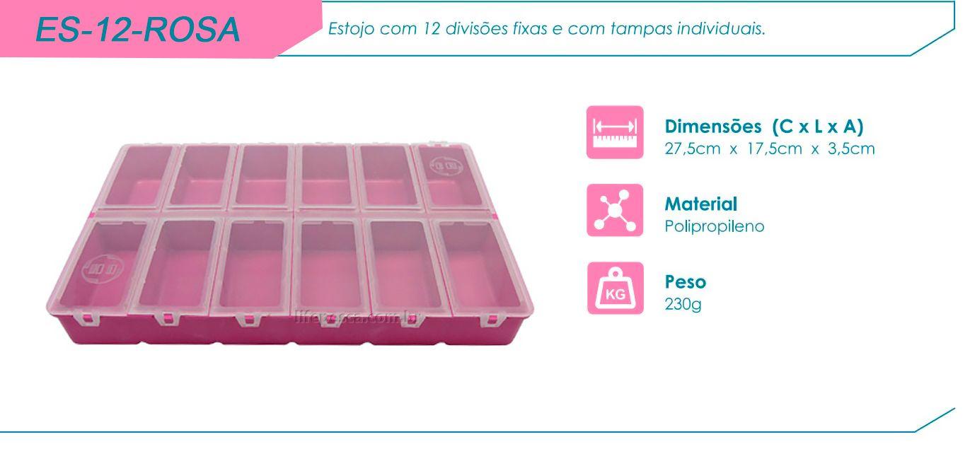 Estojo Hi ES-12-Rosa - 12 Divisões - Aberturas Individuais  - Life Pesca - Sua loja de Pesca, Camping e Lazer