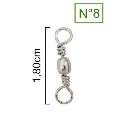 Girador Nickel Maruri N° 8 (1,80cm) - 100 Peças  - Life Pesca - Sua loja de Pesca, Camping e Lazer