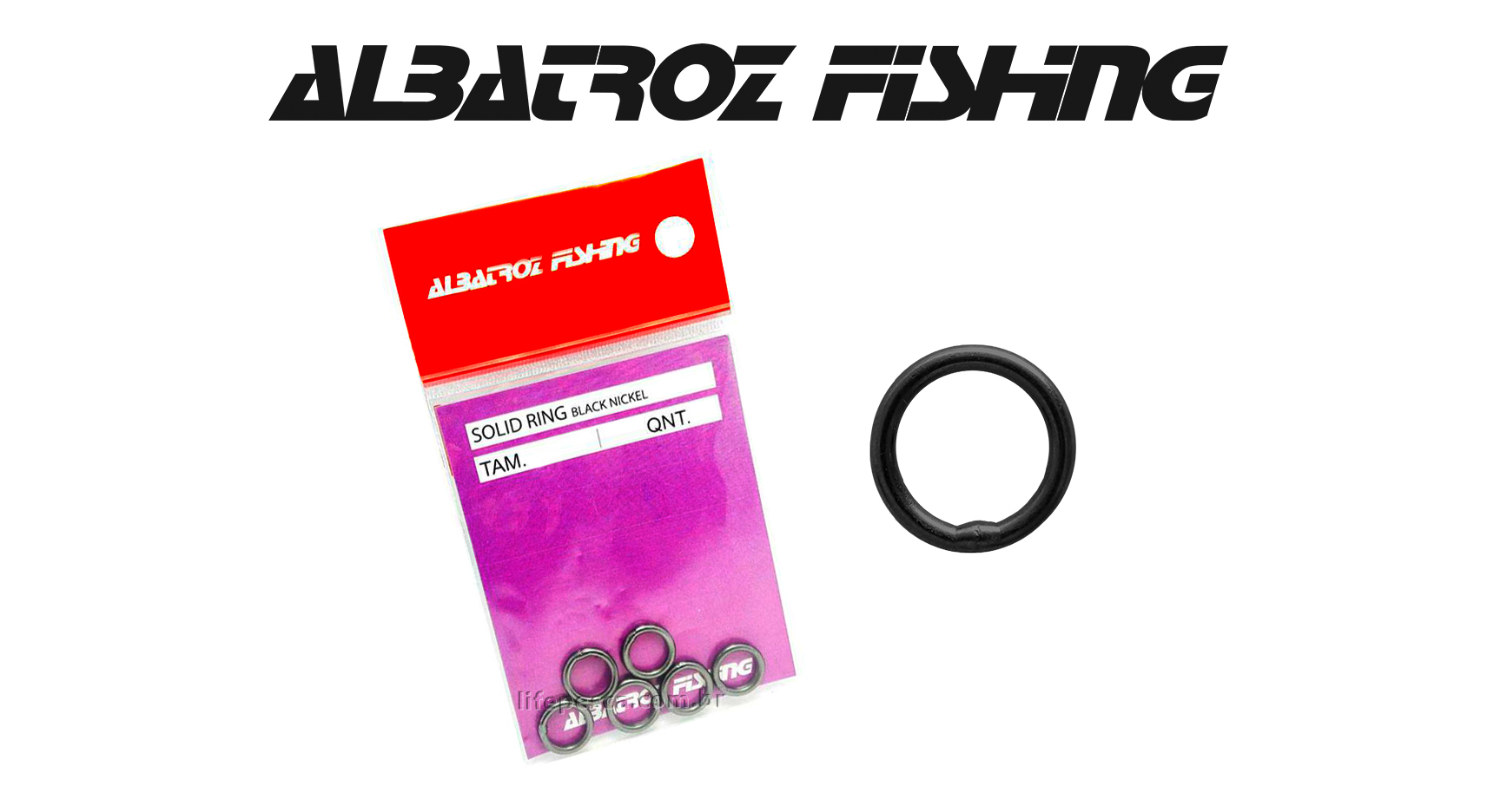 Girador Solid Ring Black Nickel N° 4 - Albatroz Fishing - 8 pçs