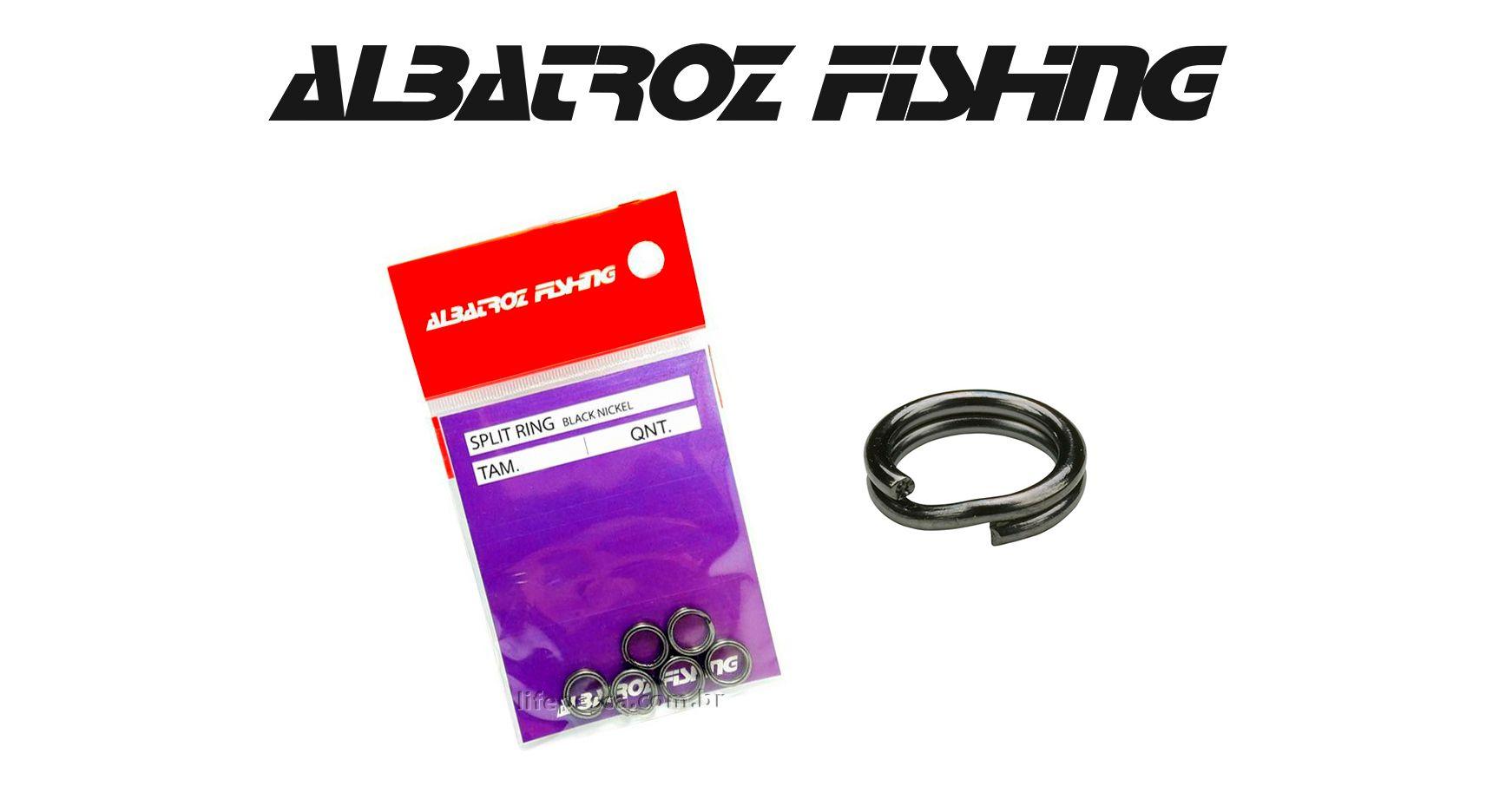 Girador Split Ring Black Nickel N° 6 - Albatroz Fishing - 10 pçs