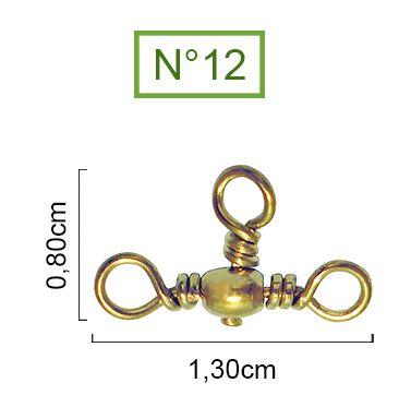 Girador Triplo Gold Maruri N°12 (0,80cm) - 10 Peças  - Life Pesca - Sua loja de Pesca, Camping e Lazer