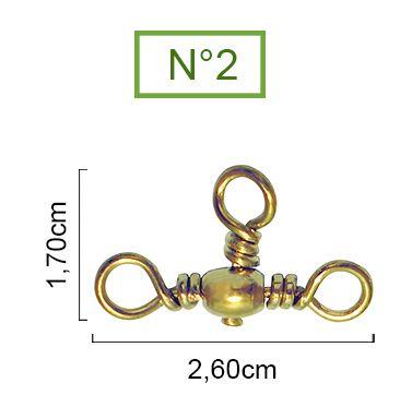 Girador Triplo Gold Maruri N° 2 (1,70cm) - 10 Peças  - Life Pesca - Sua loja de Pesca, Camping e Lazer