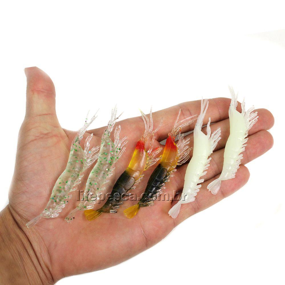 Isca Artificial Camarão Realístico Soft Cmik  7cm - 6 Peças