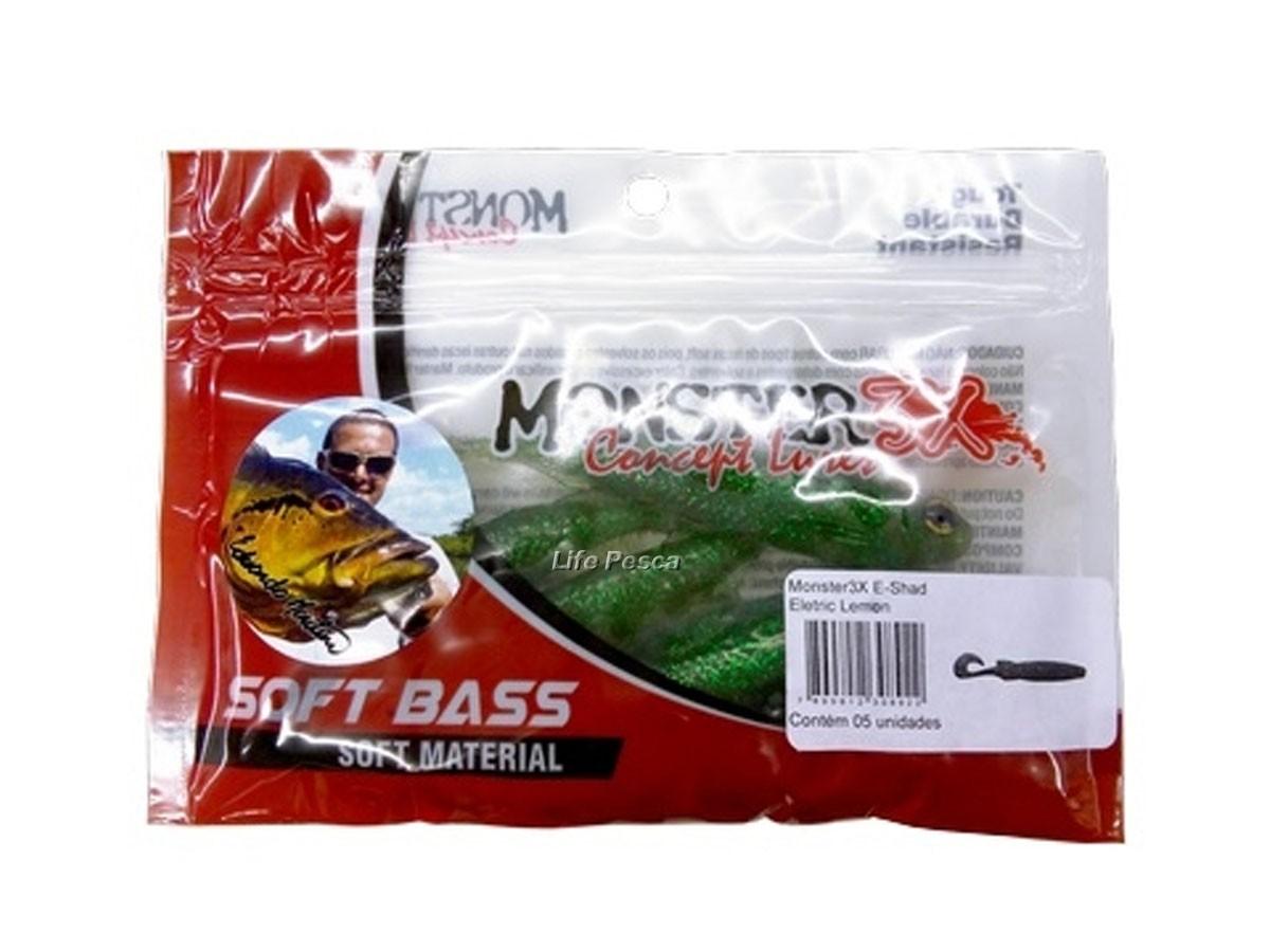 Isca Artificial Soft Bass Monster 3X E-Shad (12cm) 5 Unidades - Várias Cores  - Life Pesca - Sua loja de Pesca, Camping e Lazer