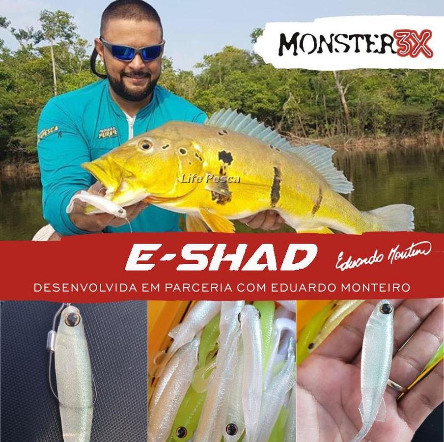 Isca Artificial Soft Bass Monster 3X E-Shad (9cm) 5 Peças - Várias Cores  - Life Pesca - Sua loja de Pesca, Camping e Lazer